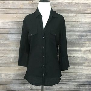 James Perse Black Contrast Side Panel Button-Down